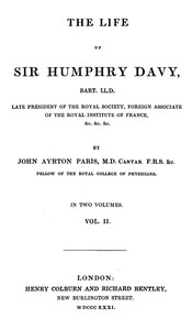 Cover of The Life of Sir Humphrey Davy, Bart. LL.D., Volume 2 (of 2)