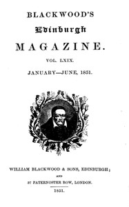 Cover of Blackwood's Edinburgh Magazine, Volume 69, No. 423, January 1851