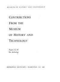 Cover of Smithsonian Institution - United States National Museum - Bulletin 249 Contributions from the Museum of History and Technology Papers 52-54 on Archeology