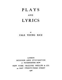 Plays and Lyrics