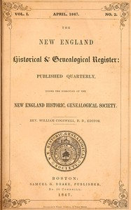 Cover of The New England Historical & Genealogical Register, Vol. 1, No. 2, April 1847