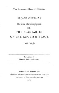 Cover of Momus Triumphans: or, the Plagiaries of the English Stage (1688[1687])