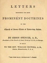 Cover of Letters Exhibiting the Most Prominent Doctrines of the Church of Jesus Christ of Latter-Day Saints