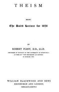 Cover of Theism; being the Baird Lecture of 1876