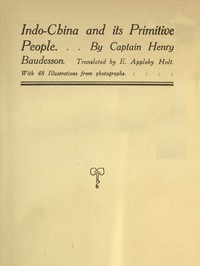 Cover of Indo-China and Its Primitive People