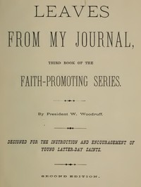 Cover of Leaves from My Journal: Third Book of the Faith-Promoting Series Designed for the Instruction and Encouragement of Young Latter-Day Saints