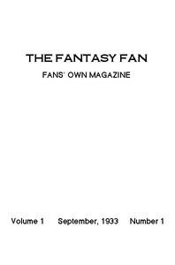 The Fantasy Fan, September 1933 The Fan's Own Magazine