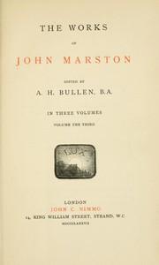 Cover of The Works of John Marston. Volume 3