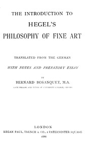 Cover of The Introduction to Hegel's Philosophy of Fine ArtsTranslated from the German with Notes and Prefatory Essay