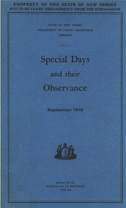Cover of Special Days and Their Observance September 1919