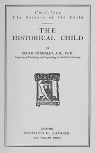 Cover of The Historical ChildPaidology; The Science of the Child