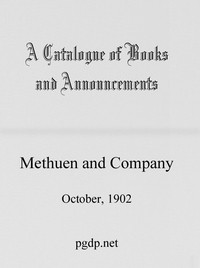Cover of A Catalogue of Books and Announcements of Methuen and Company, October 1902