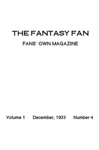 Cover of The Fantasy Fan, December 1933 The Fans' Own Magazine