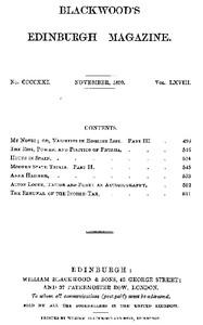 Cover of Blackwood's Edinburgh Magazine, Volume 68, No. 421, November 1850
