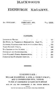 Cover of Blackwood's Edinburgh Magazine, Volume 69, No. 424, February 1851