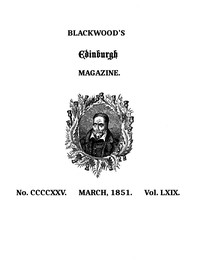 Cover of Blackwood's Edinburgh Magazine, Volume 69, No. 425, March, 1851