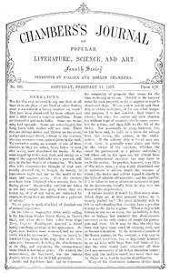 Cover of Chambers's Journal of Popular Literature, Science, and Art, No. 686 February 17, 1877