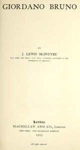 Cover of Giordano Bruno