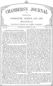 Cover of Chambers's Journal of Popular Literature, Science, and Art, No. 695April 21, 1877.