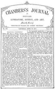 Cover of Chambers's Journal of Popular Literature, Science, and Art, No. 696April 28, 1877.