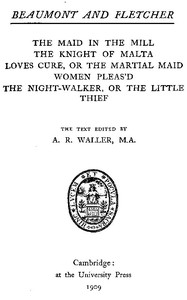 Cover of Beaumont and Fletcher's Works, Vol. 07 of 10