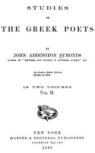Cover of Studies of the Greek Poets (Vol 2 of 2)
