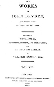 Cover of Dryden's Works Vol. 13