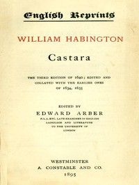 Cover of Castara The Third Edition of 1640; Edited and Collated with the Earlier Ones of 1634, 1635