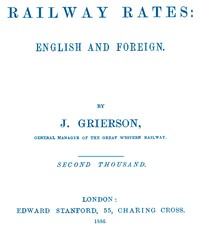 Cover of Railway Rates: English and Foreign