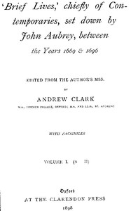 Cover of Brief Lives, Vol. 1
