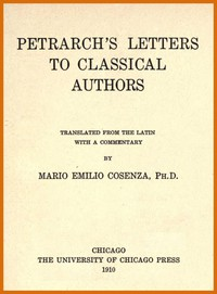 Cover of Petrarch's Letters to Classical Authors