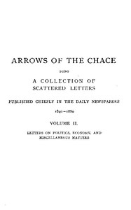 Cover of Arrows of the Chace, vol. 2/2 being a collection of scattered letters published chiefly in the daily newspapers 1840-1880