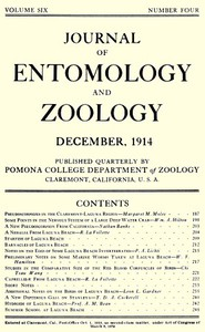 Cover of Journal of Entomology and Zoology, Vol. 06, No. 4, December 1914