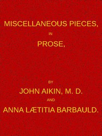 Cover of Miscellaneous Pieces, in Prose