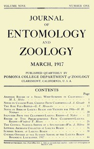 Cover of Journal of Entomology and Zoology, Vol. 09, No. 1, March 1917