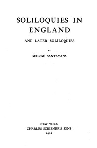 Cover of Soliloquies in England, and Later Soliloquies