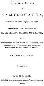 Cover of Travels in Kamtschatka, During the Years 1787 and 1788, Volume 1