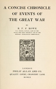 Cover of A Concise Chronicle of Events of the Great War