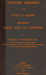 Cover of Further remarks on the policy of lending Bodleian printed books and manuscripts