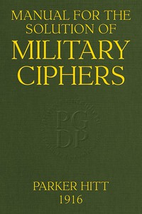 Cover of Manual for the Solution of Military Ciphers