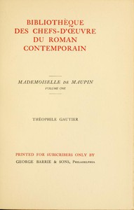 Cover of Mademoiselle de Maupin, Volume 1 (of 2)