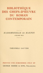 Cover of Mademoiselle de Maupin, Volume 2 (of 2)