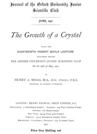Cover of The Growth of a CrystalBeing the eighteenth Robert Boyle lecture