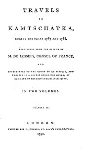 Cover of Travels in Kamtschatka, during the years 1787 and 1788, Volume 2