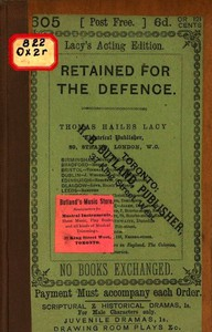 Cover of Retained for the Defence: A Farce, in One Act