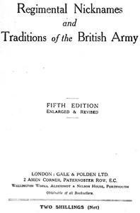 Cover of Regimental Nicknames and Traditions of the British Army