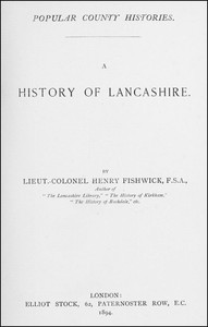Cover of A History of Lancashire
