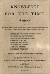 Cover of Knowledge for the Time A Manual of Reading, Reference, and Conversation on Subjects of Living Interest, Useful Curiosity, and Amusing Research