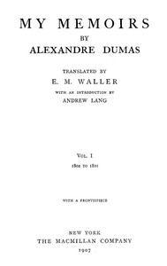 Cover of My Memoirs, Vol. I, 1802 to 1821