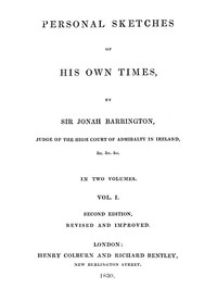 Cover of Personal Sketches of His Own Times, Vol. 1 (of 3)
